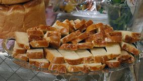 Wedding loaf of bread slices stock footage