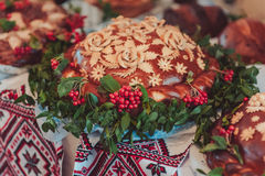 The wedding loaf. Wedding loaf. Embroidered towel. Bread loam stock photo
