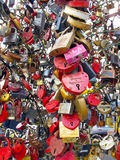 Wedding locks. Hundreds of colorful love locks. Most of the locks have names and the date of marriage engraved. Photo taken at Luzhkov bridge in Moscow, Russia stock photo