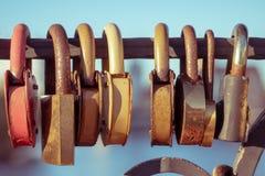 Wedding locks on bridge. View of wedding locks on bridge royalty free stock image