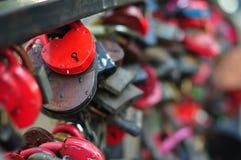 Wedding locks on the railing Stock Photography