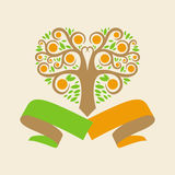 Wedding logo with an orange tree in the form of he Stock Photography