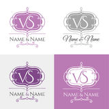 Wedding logo1. Set of elegant floral monogram design templates for one or two letters. Wedding monogram. Calligraphic elegant ornament. Business sign, monogram Royalty Free Stock Photos