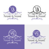 Wedding logo3. Set of elegant floral monogram design templates for one or two letters. Wedding monogram. Calligraphic elegant ornament. Business sign, monogram Royalty Free Stock Photography
