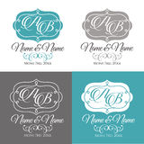 Wedding logo4. Set of elegant floral monogram design templates for two letters. Calligraphic ornament. Business sign, monogram identity for restaurant, boutique Stock Photos