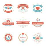 Wedding logos and badges vector and design elements set. Stock Photos