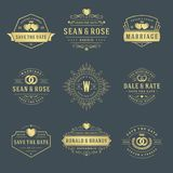 Wedding logos and badges vector and design elements set. Stock Images