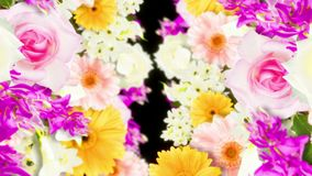 Many colorful flowers loop animation. Rainbow color flowers. Garden filled with multicolored flowers. Wedding loop animation. Many flower scene of rainbow color stock video footage
