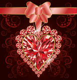 Wedding love card with ruby heart Royalty Free Stock Image
