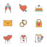 Wedding, love, couple. Flat style icons vector Royalty Free Stock Photo
