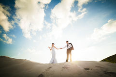 Wedding love couple running on the sand. Bride and Groom Stock Photos