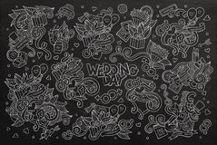 Wedding and love doodles hand drawn chalkboard Stock Photography