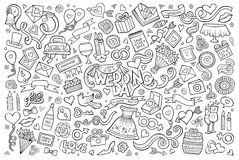 Wedding and love doodles sketchy vector symbols Royalty Free Stock Image