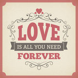 Wedding love forever typography vintage card background design Royalty Free Stock Image