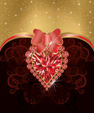 Wedding love greeting card with ruby heart Royalty Free Stock Photography