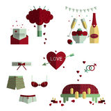 Wedding and love icon set. Love writing, bouquet of red roses, romantice date, strawberry and champagne, underwear, sex in bed Royalty Free Stock Photos