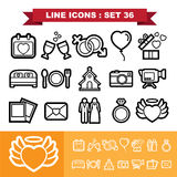 Wedding love Line icons set 36 Royalty Free Stock Photography
