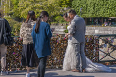 Wedding at Love Locks Bridge Royalty Free Stock Photo