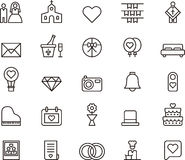 Wedding and love outline icons Royalty Free Stock Photography