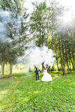 Wedding, love, relationships, marriage. Smiling bride and groom with blue smoke. Wedding, love, relationships, marriage. Smiling bride and groom dancing in blue Stock Image