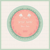 Wedding love vintage background round frame with plant and bird Stock Photography