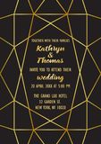 Wedding Luxury Invitation Card. Wedding invitation card with gold geometric artdeco element. Luxury mock up, template for greeting, birthday, valentines cards Royalty Free Stock Photography