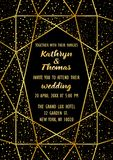 Wedding Luxury Invitation Card. Wedding invitation card with gold geometric artdeco element and gold glitter. Luxury mock up, template with festive confetti for Royalty Free Stock Photography
