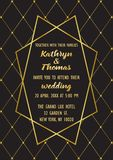 Wedding Luxury Invitation Card. Wedding invitation card with gold geometric artdeco element. Luxury classic mock up, template for greeting, birthday, valentines Royalty Free Stock Images