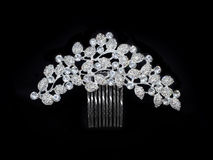 Wedding luxury silver diamonds rhinestones crystal comb barrette isolated on black royalty free stock image