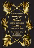 Wedding Luxury Tropical Invitation Card. Wedding invitation card with gold geometric artdeco element and palm leaves. Luxury exotic A4 mock up, template for Stock Images