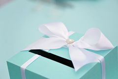 Wedding mail box with bow, closeup Royalty Free Stock Images