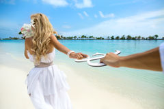 Wedding on Maldives. Young couple honeymoon on Maldives