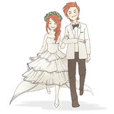 Wedding. A man and a woman in wedding dress and suit Royalty Free Illustration