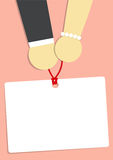 Wedding. Man and woman  hand and white paper on pink background Stock Photos