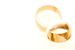 Wedding man and woman rings. Wedding rings on white close up Royalty Free Stock Photos