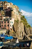 Wedding in Manarola town at Cinque Terre national Stock Image