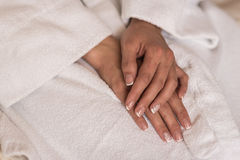 Wedding manicure. Bride in gown Stock Image