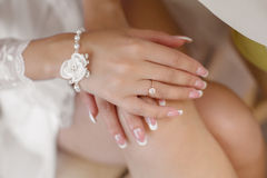 Wedding manicured nail. Bride woman french nails.Bridal ring. De Royalty Free Stock Images