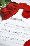 Wedding march. And red roses Stock Images
