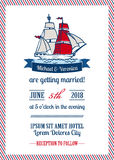 Wedding Marine Invitation Card Royalty Free Stock Photos