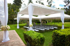 Wedding marquee with bouquets