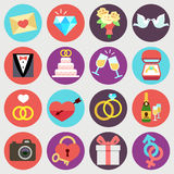 Wedding marriage bridal vector flat icons set Royalty Free Stock Photography