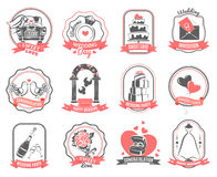 Wedding marriage engagement emblems outline set Stock Photos