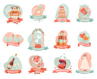Wedding marriage engagement emblems stickers set Stock Images