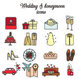 Wedding, marriage, engagement, honeymoon vector icons set Royalty Free Stock Photography