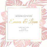 Wedding marriage event invitation border frame card template. Pink xxotic tropical jungle rainforest monstera leaves. vector illustration