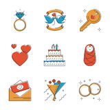 Wedding and marriage line icons set Royalty Free Stock Photography