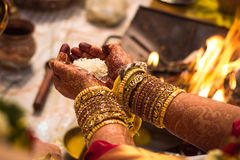 Wedding Marriage - Showering Rice Akshadai - South Indian Tradition Royalty Free Stock Photography