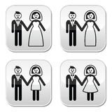 Wedding, married couple, bride and groom buttons s Royalty Free Stock Photos