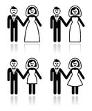 Wedding, married couple, bride and groom icons set Stock Photography
